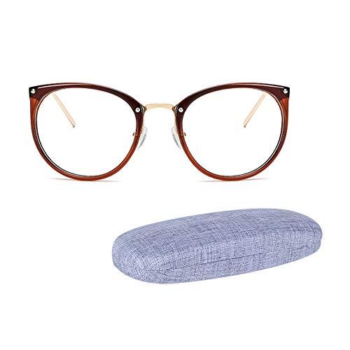 JoXiGo Rund Retro Brille Ohne Sehstärke für Damen Herren - Klar Linse Metall Brillenfassungen mit Brillenetuis Hardcase