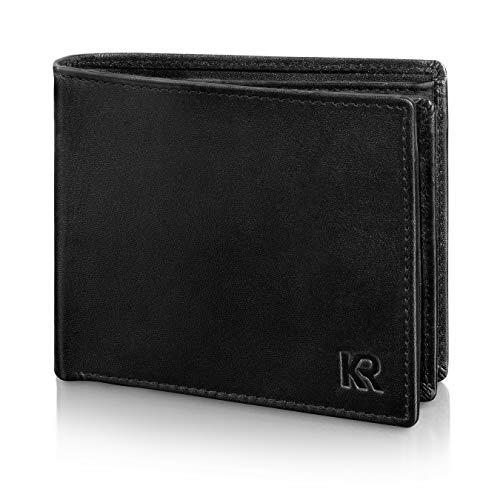 07b942f6298a7 KRONIFY Geldbeutel Männer aus Rindsleder mit RFID Schutz Großes  Portemonnaie Geldbörse Herren Leder Schwarz Brieftasche Portmonaise Herren  Portmonee Wallet
