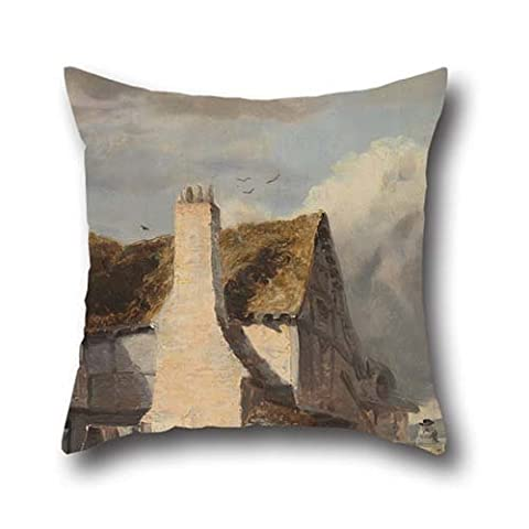 Oil Painting Sir Augustus Wall Callcott - Cottage By A Country Lane Throw Pillow Case 20 X 20 Inches / 50 By 50 Cm Best Choice For Family,wedding,bar,family,home Theater,father With Both