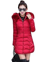 LaoZan Mujer de manga larga Abrigo acolchado Chaqueta larga Abrigo de Invierno de Manga Larga Large Rojo