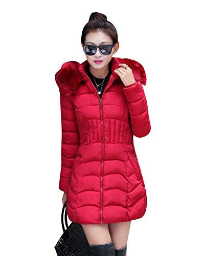 LaoZan Donna Inverno Spessore Caldo Cappotto Slim Fit Incappucciato Giacca Trapuntato Cappotti Rosso M