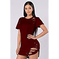 Good dress Camiseta Atractiva Irregular del Agujero de Las Mujeres, Vino Rojo, SG