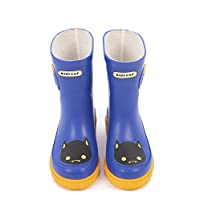Blue Bat Rubber Kids Boots. Navy Blue and Yellow cat Wellies for Your Little one to Brighten up a Rainy Day. Natural Rubber