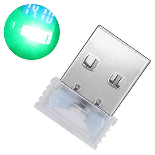 Muzhili3 LED Nachtlicht, Mini USB LED Beleuchtung Auto Innenraum Atmosphäre Licht Dekorative Ambiente Lampe - Weiß grün