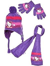 Schal, Mütze und Handschuhe, für Mädchen, Motiv: Hello Kitty, Rosa und Violett, 3 bis 9 Jahre