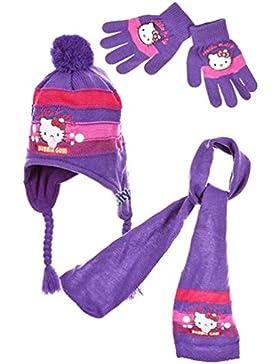 Sciarpa, berretto peruviani e guanti Hello Kitty, rosa e viola, da 3a 9anni