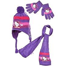 Bufanda, gorro peruano y guantes para niño o Niña de Hello Kitty, rosa y morado de 3a 9años