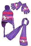 Echarpe, bonnet péruvien et gants enfant fille Hello kitty Rose et Violet de 3 à 9ans (52 (3-6 ans), Violet)