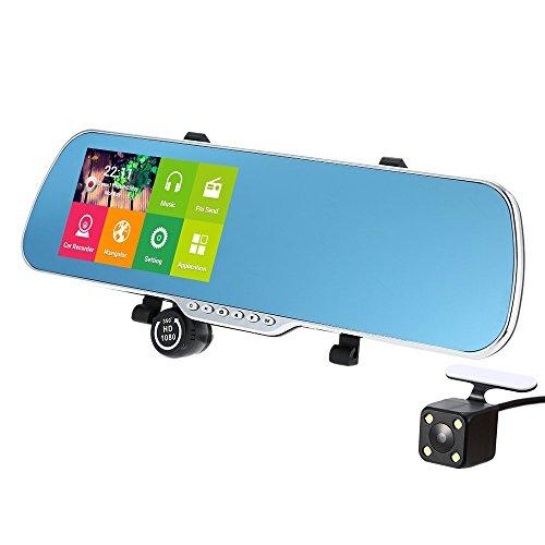 Kkmoon dash cam videocamera per auto, 5 pollici car dvr dashboard camera android navigatore gps doppia lente telecamera per auto, 1080p specchietto retrovisore con telecamera con wifi,g-sensor,fm