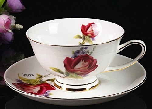 BeiBeiLove Gracie China Rose Chintz Bone China Tea cup Spoon and Saucer Set Coffee Cup Set with Saucer and Spoon 6 oz, Assorted colors (Thirteen) by BeiBeiLove