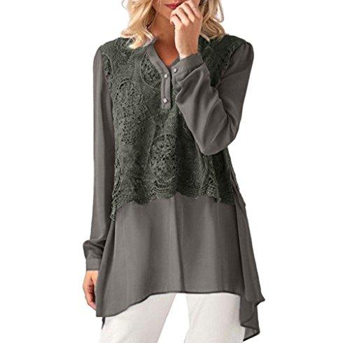 Damen Blusen Ronamick Frau Lässige Oberteile Solid Lace Tunika Patchwork Langarm Chiffon Layered Tops Shirts Pullover (Grau, XL) (Solid-knopf-front-shirt)