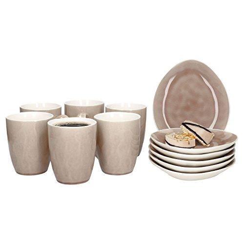 MamboCat 12-tlg. Frühstücks-Set Craquele | 6 Personen | Kaffeebecher + Kleiner Teller | Kombi-Geschirr | Frühstück, Kuchen + Dessert | Abstrakt | Alt-Rosa