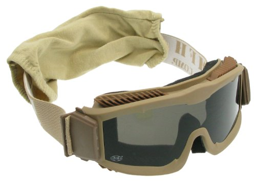 MFH Softair / Airsoft Schutzbrille -Thunder DELUXE-, mit 2 Ersatzgläsern & Stoffhülle - beige des Herstellers MFH