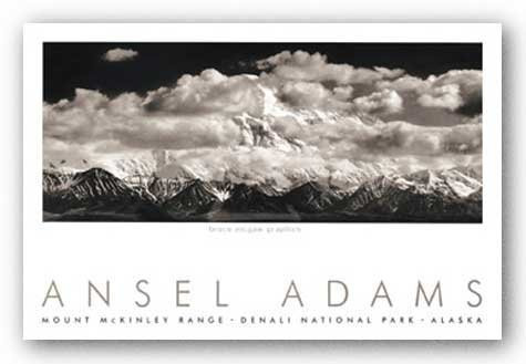 (24x36) Ansel Adams Mt. McKinley Range, Clouds, Denali National Park, Alaska, 1948 Art Print Poster by The Picture Peddler Inc. -