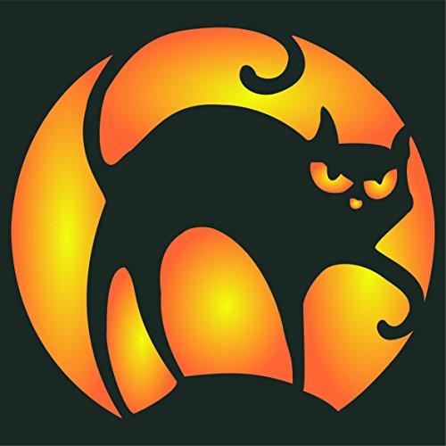Katze Halloween Schablone–wiederverwendbar Creepy Urlaub gruselige Hexen Katze Wand Schablone–Vorlage, auf Papier Projekte Scrapbook Tagebuch Wände Böden Stoff Möbel Glas Holz etc. m