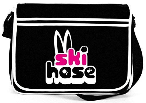 Shirtstreet24, Ski Hase, Après Ski Wintersport Retro Messenger Bag Kuriertasche Umhängetasche Schwarz