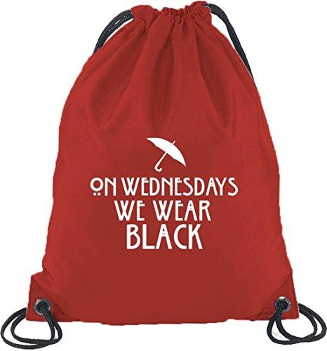 Shirtstreet24, AHS - On Wednesdays, Turnbeutel Rucksack Sport Beutel Rot