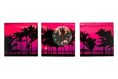 WANDUHR DESIGN SONNENUNTERGANG SUNSET 3TLG 2 BILDER + 1 UHR KÜCHENUHR MODERN - Tinas Collection - Das etwas andere Design