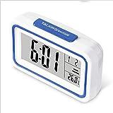 LIJIE Kreativer digitaler stummer Kleiner Wecker LCD leuchtende elektronische Uhrstudentenschlafsaal Faule Nachttischuhr,Blue