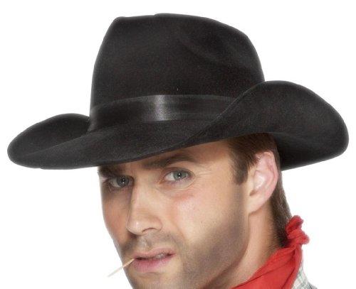 Smiffys, Herren Cowboy Hut mit Band, One Size, Schwarz, (Schwarze Cowboy Hüte)