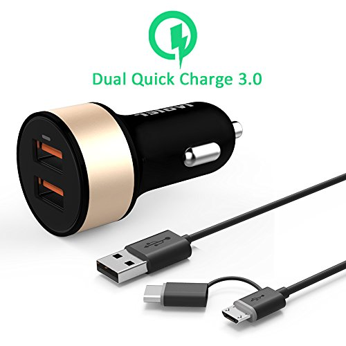iVoler Quick Charge 3.0 Chargeur de Voiture 36W 2 Ports USB Chargeur Allume Cigare [2*QC 3.0 Port] [QC 2.0 & USB Type C Compatible] pour Samsung Galaxy S7/S7 Edge/ S6/S6 Edge/+/Note 5/4/Edge, Sony Xperia Z5/Z4/Z3/Z2, HTC 10/A9/M8/M9, LG G5/G4/ V10/ LG G Flex 2, Asus Zenfone 2, Nexus 6, Huawei P9/P9 Plus, Nexus 6P/5X, Lumia 950/950XL, Oneplus 2,Xiaomi Mi5, iPhone, iPad et les autres smartphones -Noir