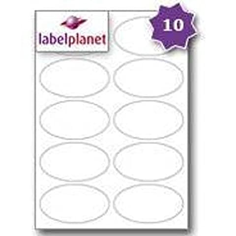 10 Per Page/Sheet 10 Sheets (100 OVAL Sticky Labels) Label Planet® A4 White Blank Plain Matt Self-Adhesive Laser/Inkjet/Copier Printer Printable Stickers, 95 x 53 MM, UK LP10/95OV Multi-Purpose, Pricing/Seals/Products/Bottles, For Jam Free
