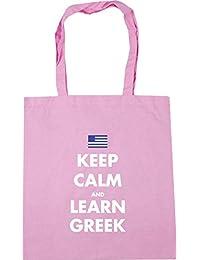 HippoWarehouse Keep calm and learn Greek Tote Shopping Gym Beach Bag 42cm x38cm, 10 litres