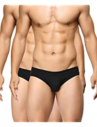 BASIICS by La Intimo Men's Black, Black Ultra-Soft Classic Brief (Pack of 2)