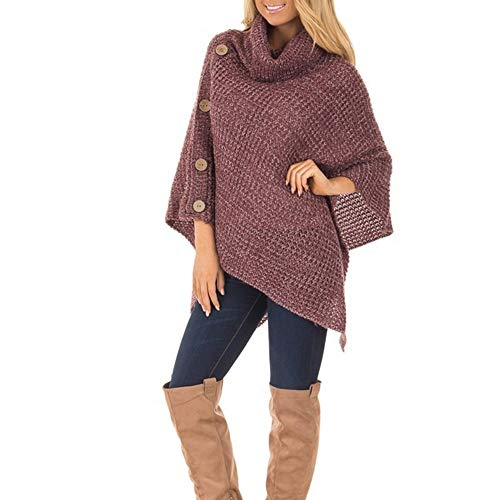 Xiangdanful Damen Rollkragen Sweater Strickpullover Strick Ponchos Capes Unregelmäßiger Pullover Hoodies Pulli Winterjacke Langarmshirt Einfarbig Oberteile Herbst Warm Wrap Bluse (M, Rot)
