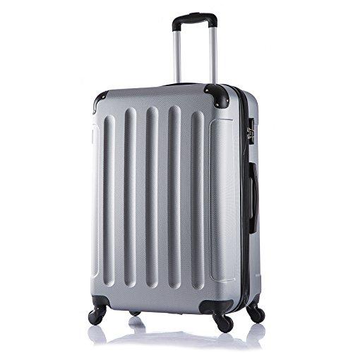 WOLTU RK4203sb , Reise Koffer Trolley Hartschale Volumen erweiterbar Reisekoffer Hartschalenkoffer mit 4 Rollen Gepäck groß , M / L / XL / Set , leicht und günstig , Silber (XL, 75 cm & 110 Liter)