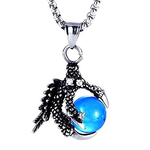 ZSML Herren Dragon Claw Anhänger Halskette, Edelstahl Blau Achat Perlen Anhänger mit Herren Schmuck Geschenk