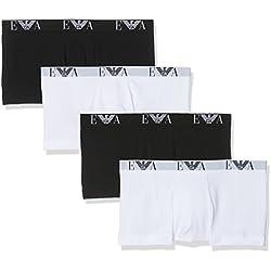 Emporio Armani Underwear Herren Boxershorts, 4er Pack, 111810CC715 Mehrfarbig (Bianco-Bco/Nero 54710), Large