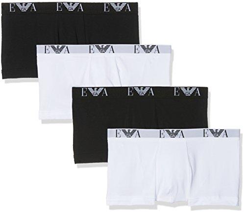 Emporio Armani Underwear Herren Boxershorts, 4er Pack, 111810CC715 Mehrfarbig (Bianco-Bco/Nero 54710), Large (Armani Herren-unterwäsche)