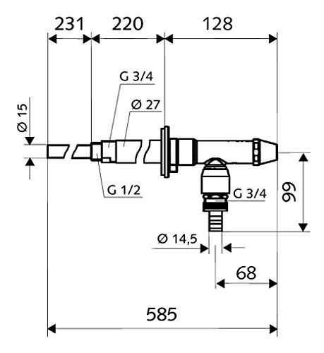 SCHELL 039950399 Frostsichere Außenwandarmatur , Außenarmatur POLAR II , Messing Armatur (Komplettarmatur) mit automatischer Zwangsbelüftung ohne Rohrbelüfter , DN 15 G 1,2 AG,Ø 15 mm, Mattchrom