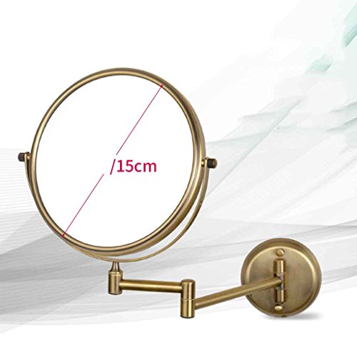 Miroirs Salle de Bains Hôtel Salle De Bains Mur Pliant Pliable Télescopique Double-Face Grossissant 8 Pouces 20 cm 6 Pouces 15 cm (Couleur : Brass, Taille : Diameter 15cm)