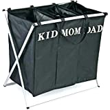 KriShyam Multipurpose new modern Style Foldable X Shape Frame 3 Compartment Laundry Bag for Mom Dad and Child Clothes/Hamper / Basket with Lid and Drawstring Closure. Metal Frame with Removable Canvas Bag.