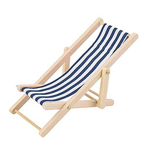 RUNFON Foldable Miniature Blue Striped Beach Chair Model Wooden Mini Leisure Deck Chair for Dollhouse Garden Accessory