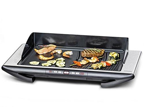 Deluxe Grill-tool (ROMMELSBACHER BBQ 2012/E Tischgrill Gourmet Deluxe (Elektrogrill Made in Germany, 2 getrennt steuerbare Grillbereiche, 3-Lagen Anihaftbeschichtung, 2000 W) Edelstahl, schwarz)