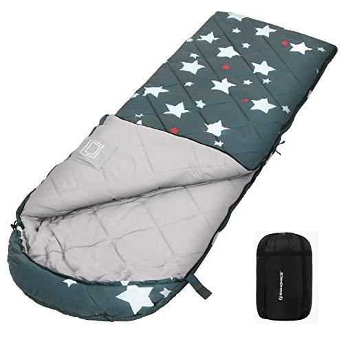 SONGMICS Schlafsack mit Kompressionsbeutel, Deckenschlafsack für 4 Jahreszeiten, leicht, kompakt, mit Ultraschall-Nähten, Camping, Wandern, mit Sternenmuster, Komforttemperatur 5-15°C, grün GSB20WJ