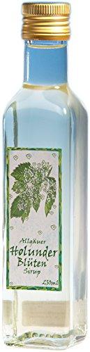 Holunderblüten Sirup aus dem Allgäu | 250ml Getränkesirup für Mineral-Wasser | Vegan ohne künstliche Süßstoffe (Holunder-extrakt Zuckerfrei)