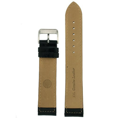 Extra Long Watch Band Leather Black Padded 24 millimeters Tech Swiss