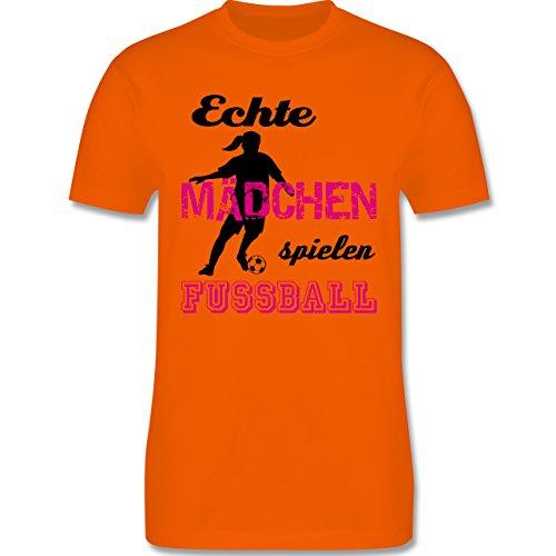 Fußball - Echte Mädchen spielen Fußball - Schwarz - Herren Premium T-Shirt Orange