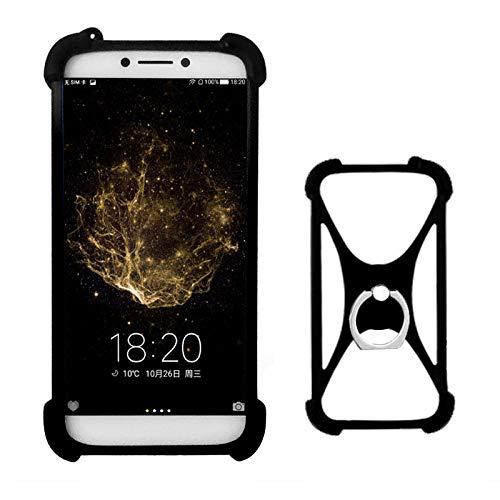 Lankashi Schwarz Silikon Schutz Tasche Hülle Case Ring Halter Ständ Cover Etui Handyhülle Handytasche Für Alcatel 8050D 9001D 5080X 5070D A5 LED A3 XL A7 U5 3C 3V 3X 1X 1C 5086 5044D 5047D Universal