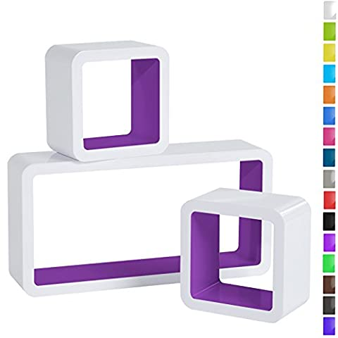 WOLTU 3er Set Wandregal Cube Regal Bücherregal Regalsysteme, Retro Hängeregal RG9229dla,