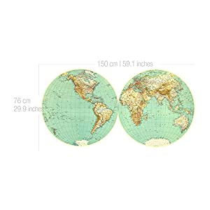 Moonwallstickers Vinilo Mapa Mundo de Pared Retro Vintage Decorativo – 150 x 76 cm