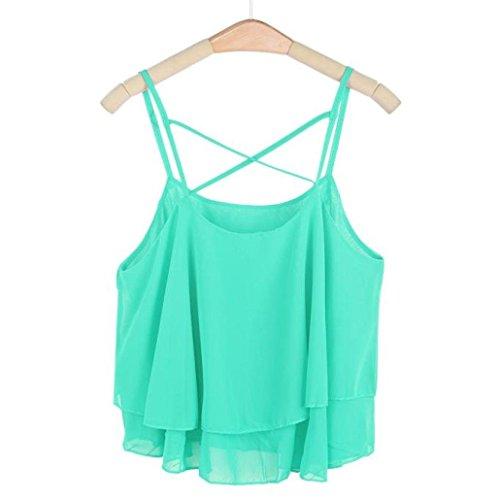 Sexy Gilet , Amlaiworld Femmes Irregular Summer Chiffon Shirt Camisole Gilet Vert