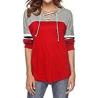 Luckycat Camiseta de Patchwork de Mujer con Cordones Camisas Tops de otoño Deportes Sudadera
