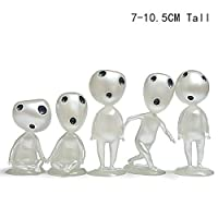 BSGP 5 PCS/lot Large Princess Mononoke Luminous Tree Elves Spirit Kodama Gardening Potted Decoration Micro Landscape Accessories, 7~10.5 cm Tall