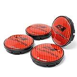 Finest Folia 4X Nabendeckel Cupra 55mm ABS Kunststoff OEM Qualität Gel Emblem Aluminum Deckel (Carbon Rot, Schwarz Eloxiert) Vergleich