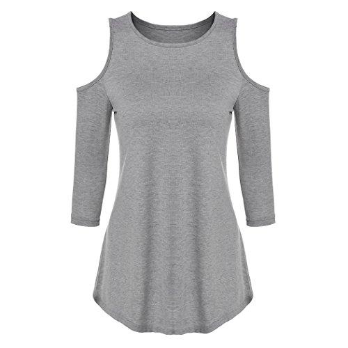 ZEARO Damen Pullover T-Shirt Bluse 3/4 Ärmel schulterfreie Oberteile Freizeit lockere Tunika Tops Grau